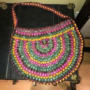 Vintage Large Knit Multi Color Wooden Bead Purse